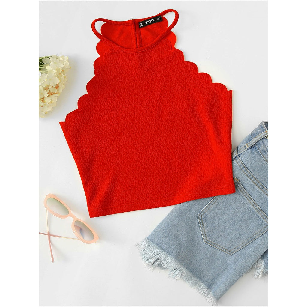 Scallop Trim Halter Top RED