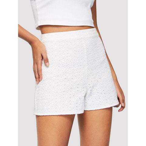 Zip Side Eyelet Embroidered Shorts