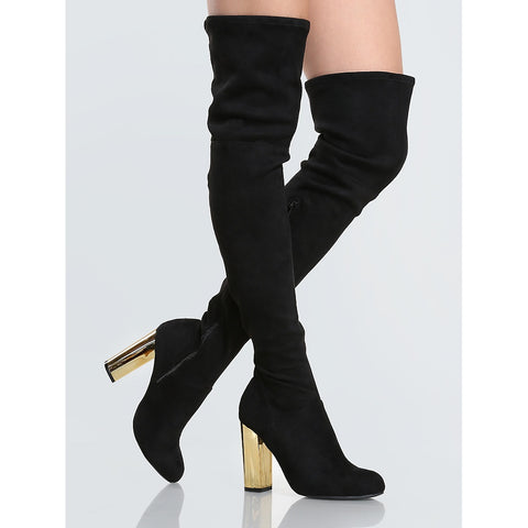 Golden Heel Suede Thigh Highs BLACK