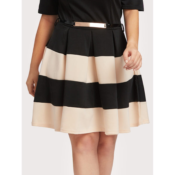Contrast Wide Striped Tie Waist Pleated Dress - Anabella's