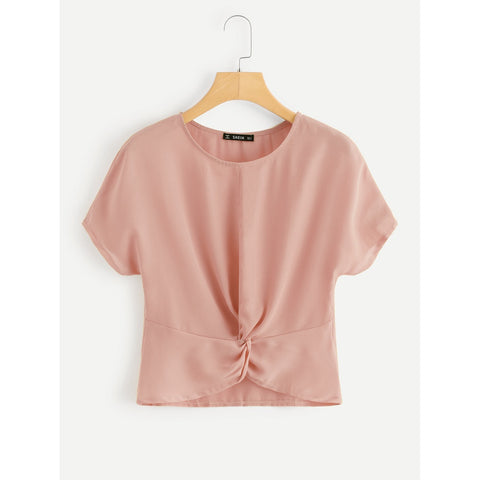 Twist Front Solid Top Pink