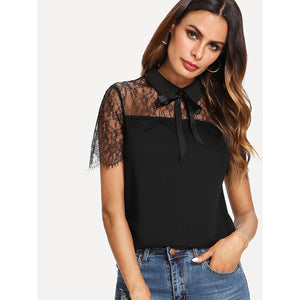 Bow Tie Lace Yoke Top