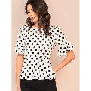 Trumpet Sleeve Belted High Low Polka Dot Top