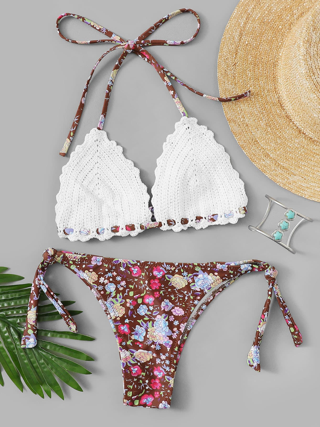 Floral Crochet Halter Top With Tie Side Bikini