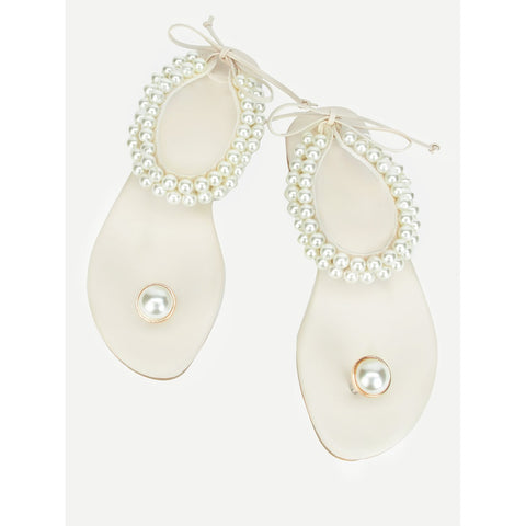 Toe Ring Faux Pearl Sandals White