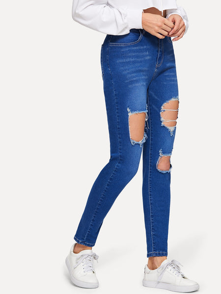 Frayed Trim Destroyed Jeans
