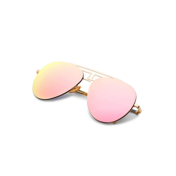 Asymmetrical Top Bar Rimless Aviator Sunglasses PINK