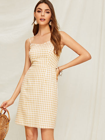 Gingham Print Shirred Slip Dress