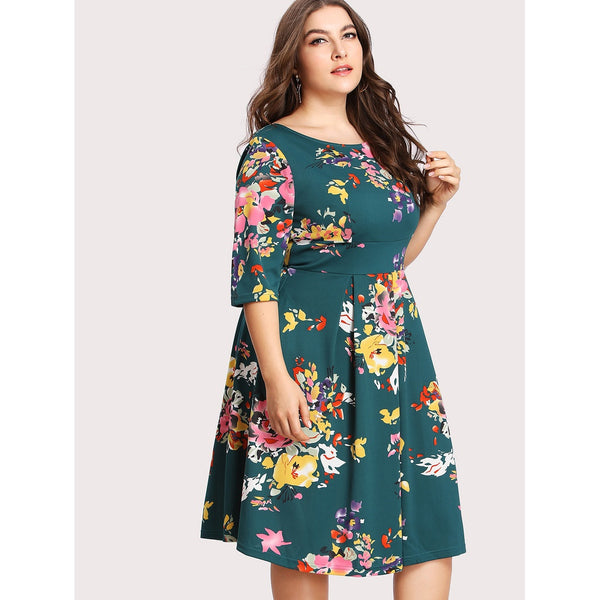 V Back Florals Circle Dress - Anabella's