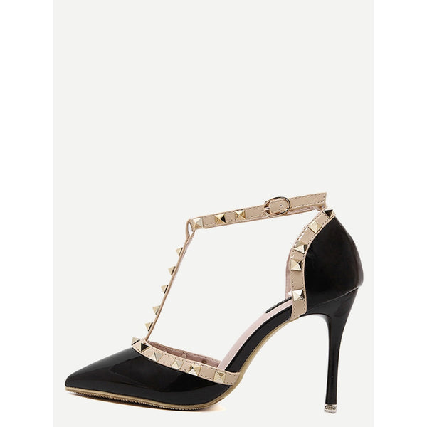 Black Pointed Toe T-shaped Stiletto Heels - Anabella's