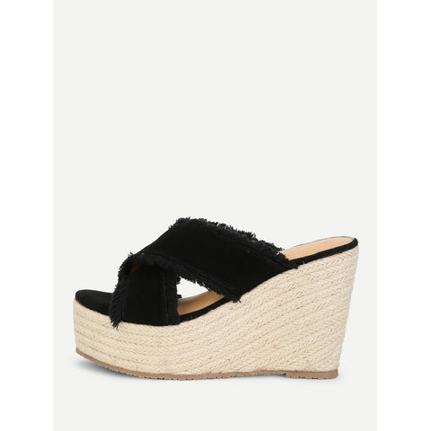 Raw Trim Criss Cross Wedges