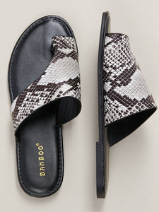 Snakeskin Asymmetric Toe Loop Band Slide Sandals