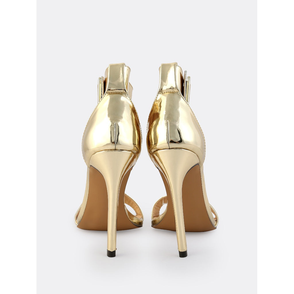 a5a6f7b803 ... Thick Metallic Ankle Strap Heels GOLD - Anabella's