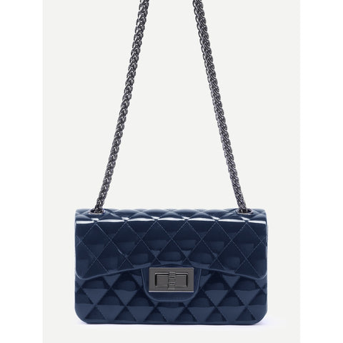 Plastic Quilted Flap Double Chain Bag