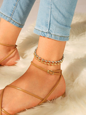 Ball Detail Anklet 2pcs