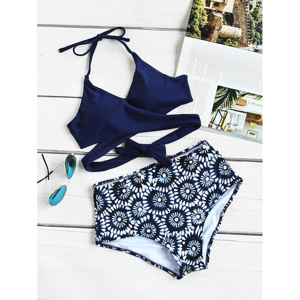 Calico Print Wrap High Waist Bikini Set NAVY