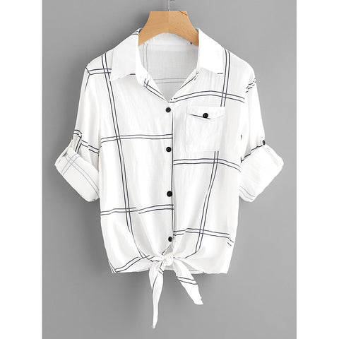 Rolled Sleeve Checked Knot Front Shirt