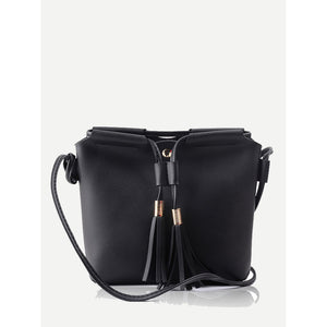 Tassel Detail Crossbody Bag Black