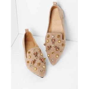 Faux Pearl Decorated Pointed Toe Flats - Anabella's