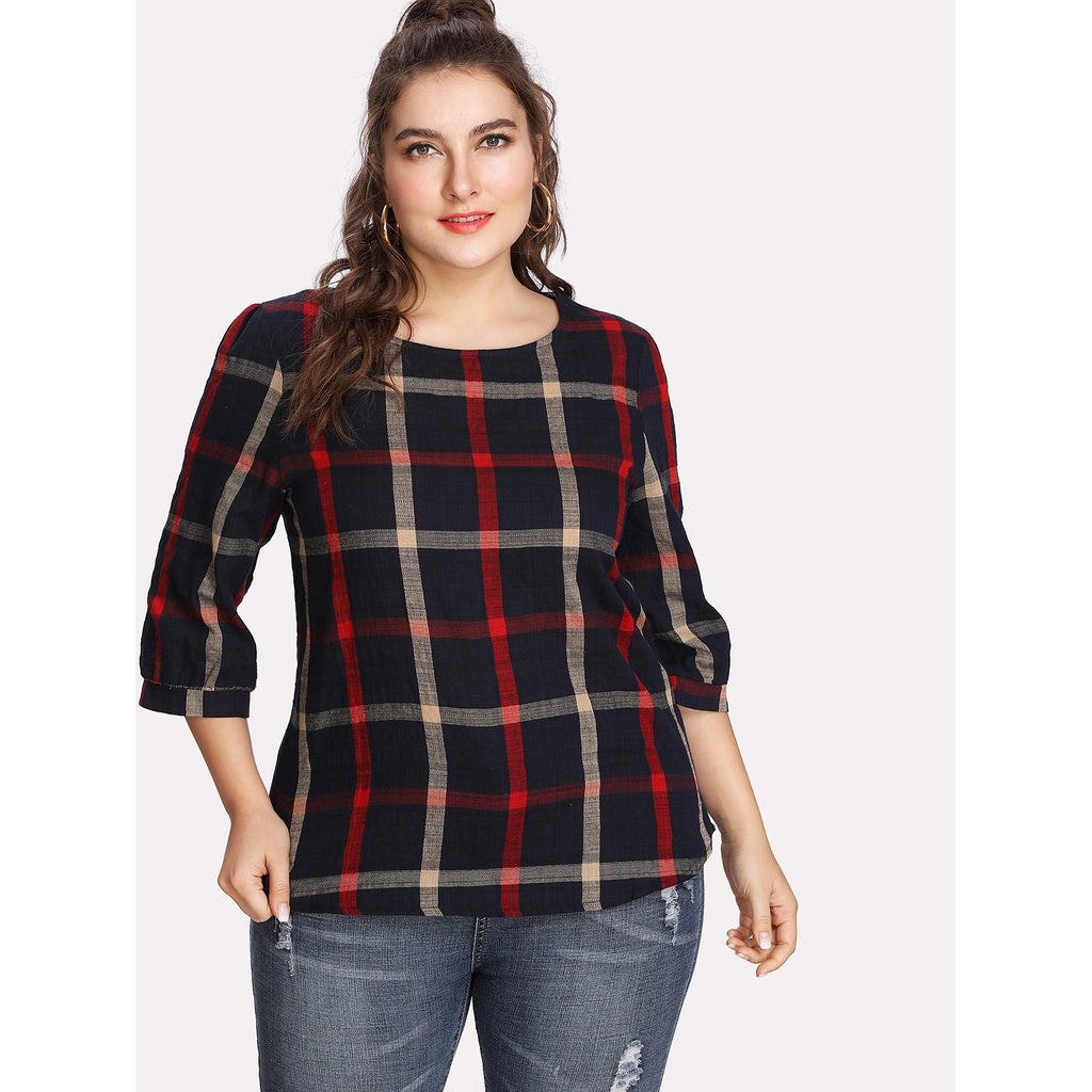 Checked Random Blouse - Anabella's