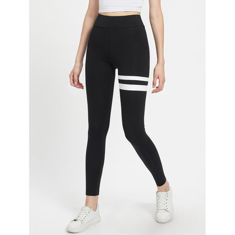 Asymmetric Striped Leggings Black