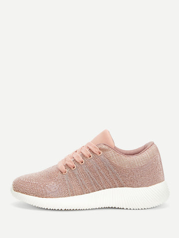 Lace-up Front Knit Sneakers