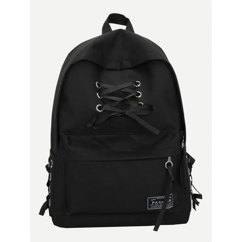 Lace Up Pocket Front Backpack Black
