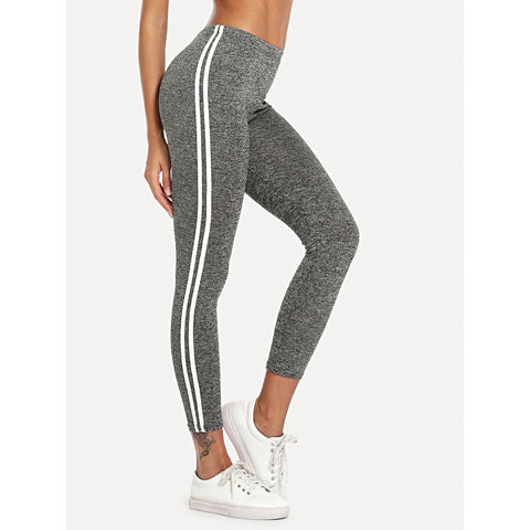 Striped Tape Side Elastic Waist Leggings Grey