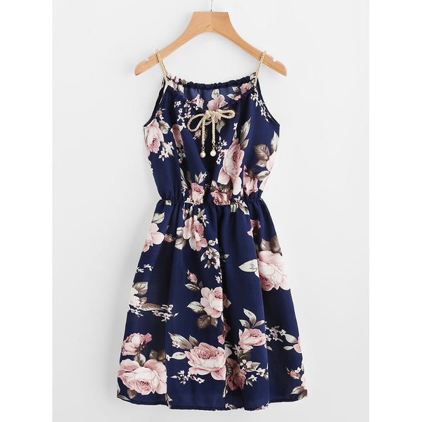 Braided Bead Strap Tie Floral Print Dress