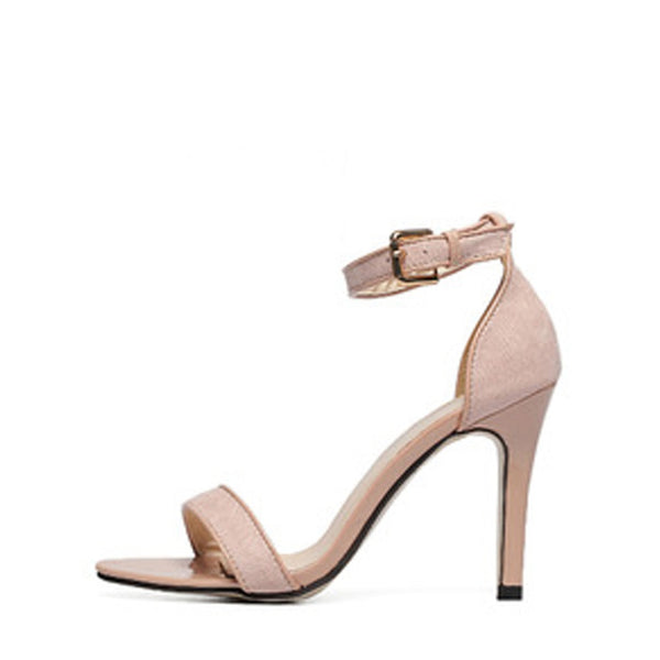 Apricot Open Toe Ankle Strap High Stiletto Sandals - Anabella's