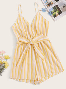 Surplice Neck Striped Belted Cami Romper
