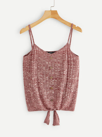 Knot & Button Front Textured Cami Top
