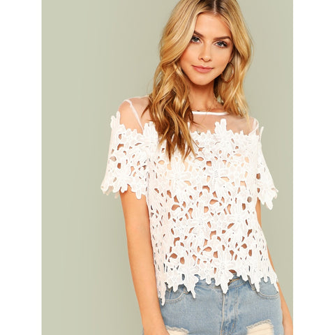 Keyhole Back Sheer Lace Top