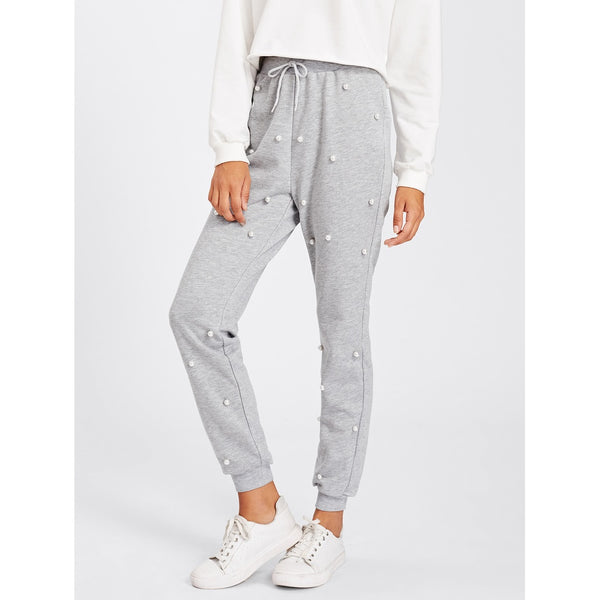 Pearl Beading Heathered Knit Sweatpants Grey