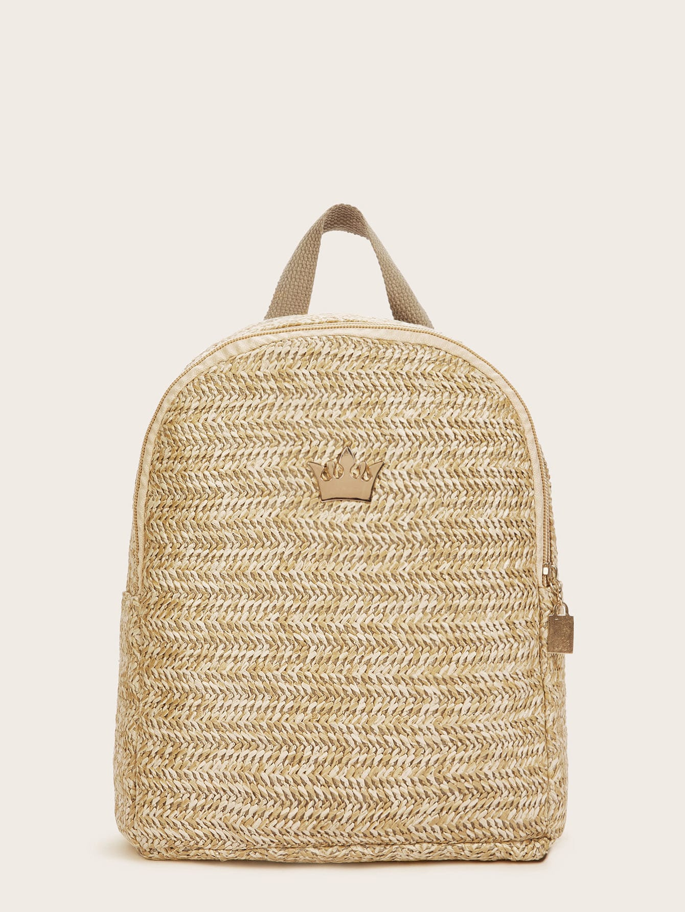 Crown Detail Woven Backpack