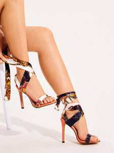 Cross Strap Tie Leg Stiletto Heels