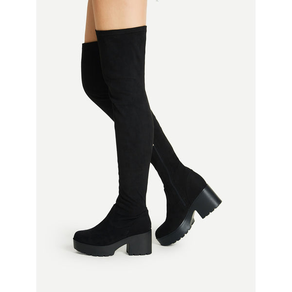 Side Zipper Over Knee Platform Boots - Anabella's