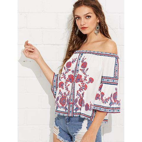 Off Shoulder Flounce Sleeve Printed Blouse