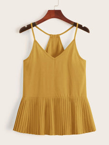 Solid Pleated Hem Cami Top