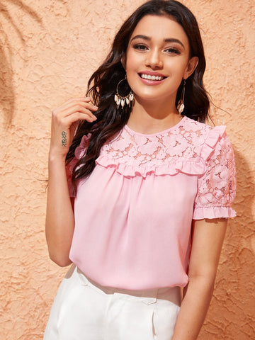 Guipure Lace Yoke Ruffle Trim Blouse