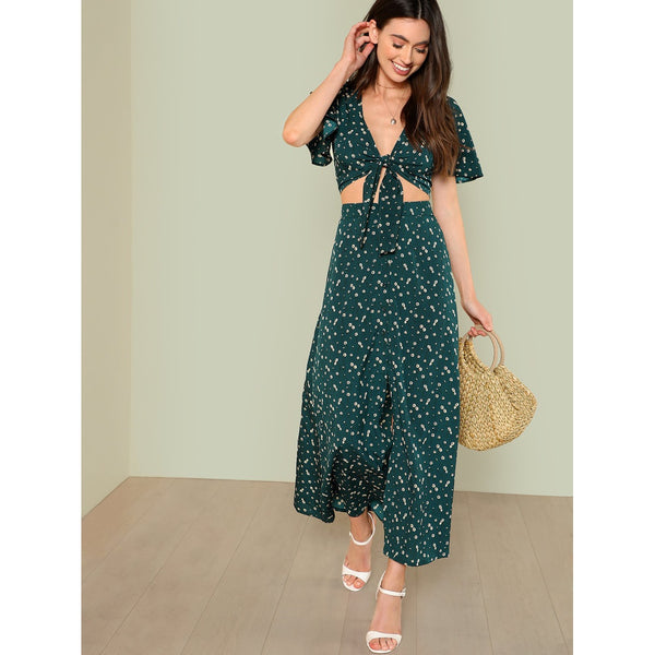 Bell Sleeve Knot Top & Button Up Skirt Set