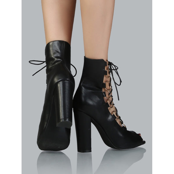 Peep Toe Lace Up Ankle Boots BLACK - Anabella's