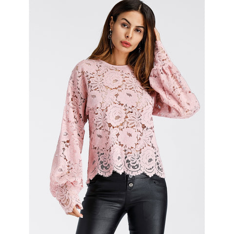 Lantern Sleeve Hollow Lace Top Pink