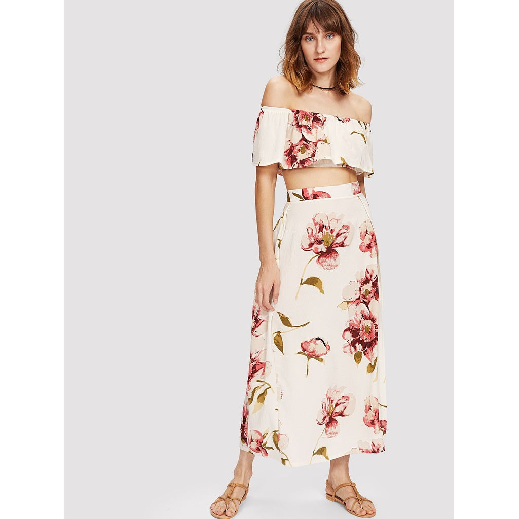 Bardot Floral Print Crop Top With Slit Side Skirt MULTI