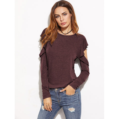 Open Shoulder Ruffle T-shirt Burgundy