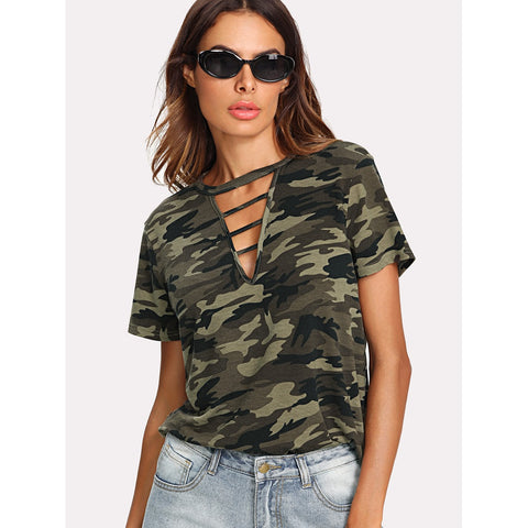 Strappy Choker Neck Camo Tee Army Green