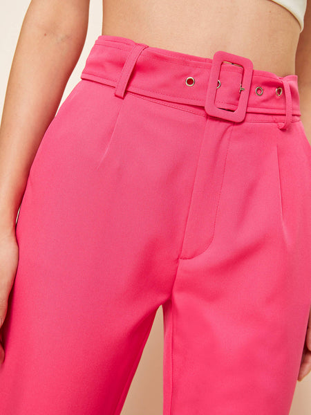 Neon Pink Square Ring Belted Tailored Pants