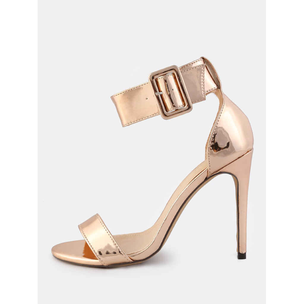 Metallic Patent Ankle Strap Heels ROSE GOLD - Anabella's