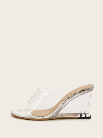 Open Toe Clear Heeled Wedges