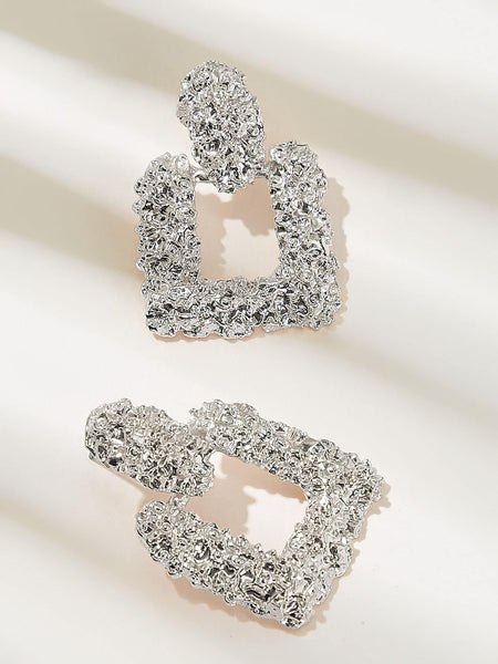 Textured Open Square Drop Earrings 1pair